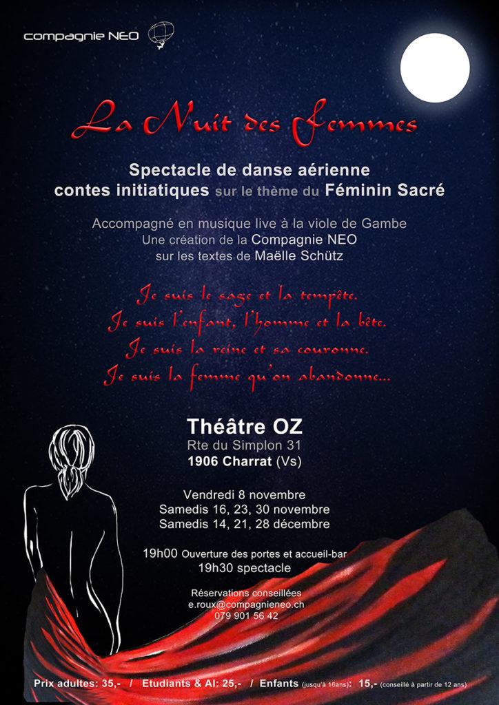 La nuit des femmes, spectacle de danse aérienne sur le thème du Féminin Sacré.<a href=